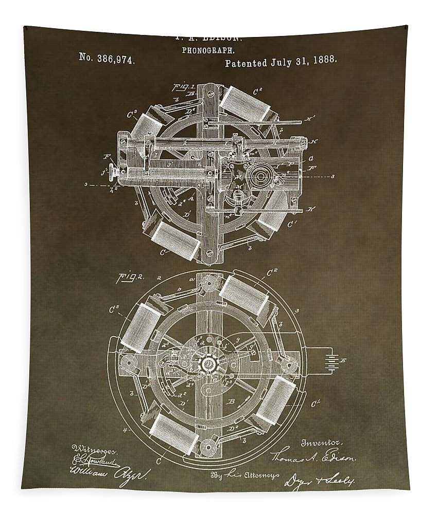 Thomas Edison's Phonograph Tapestry featuring the mixed media Vintage Phonograph Patent by Dan Sproul