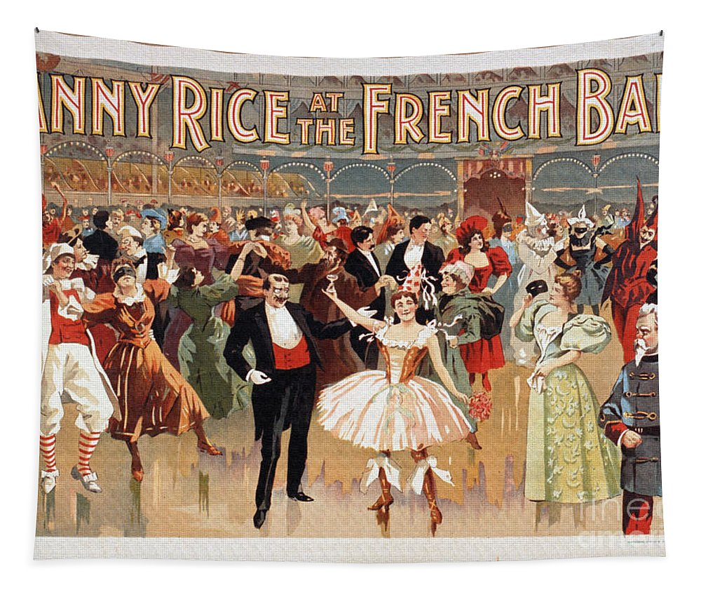 Vintage Tapestry featuring the digital art Vintage Poster Fanny Rice At The French Ball by R Muirhead Art
