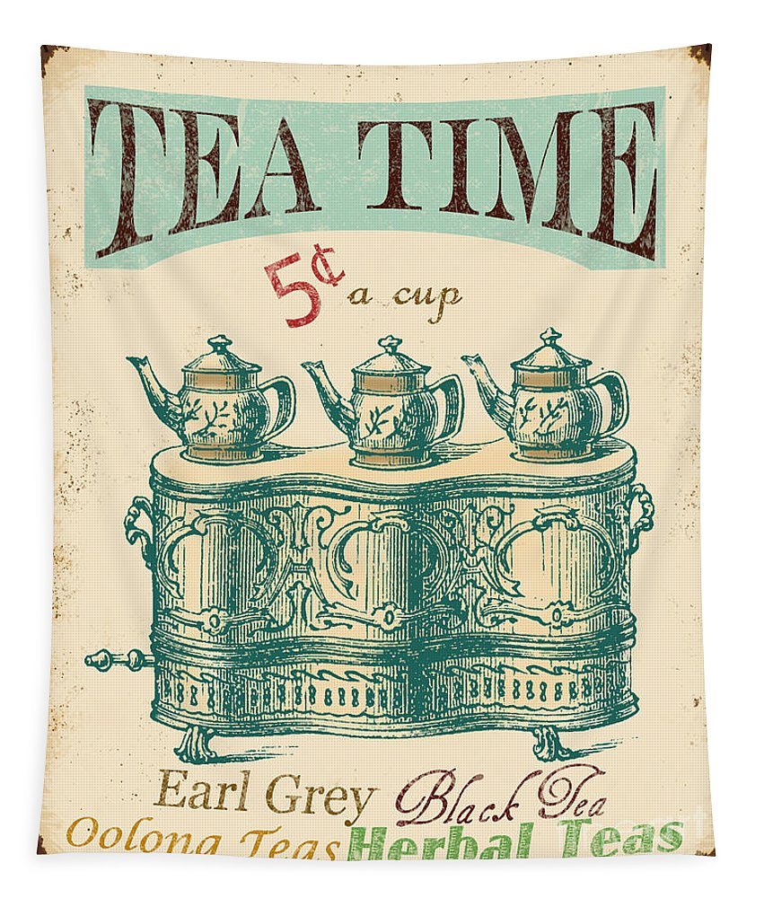 Jean Plout Tapestry featuring the digital art Vintage Tea Time Sign by Jean Plout