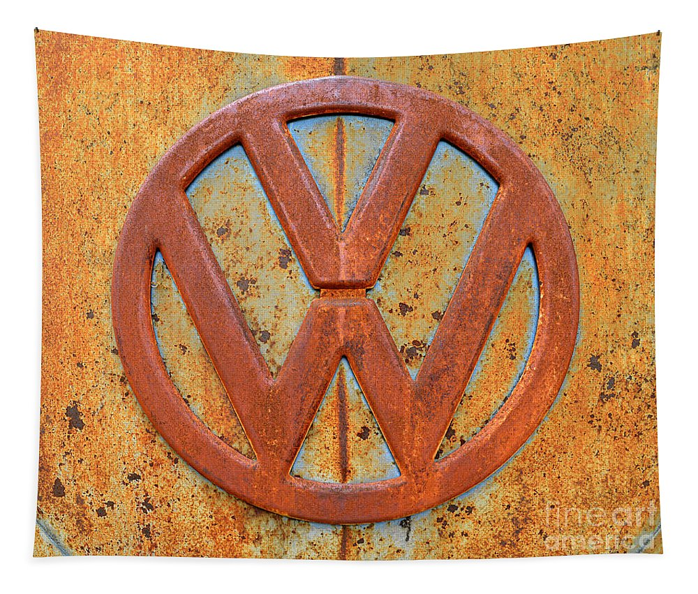 Vw Tapestry featuring the photograph Vintage Volkswagen Bus Logo by Catherine Sherman