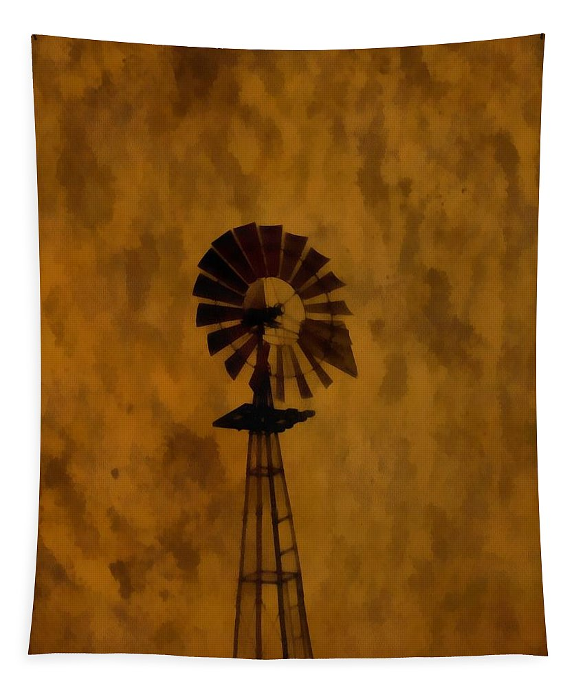 Vintage Windmill Tapestry featuring the painting Vintage Windmill by Dan Sproul