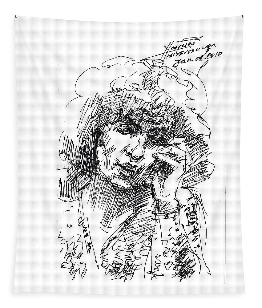 On The Phone Tapestry featuring the drawing Viola On The Phone by Ylli Haruni