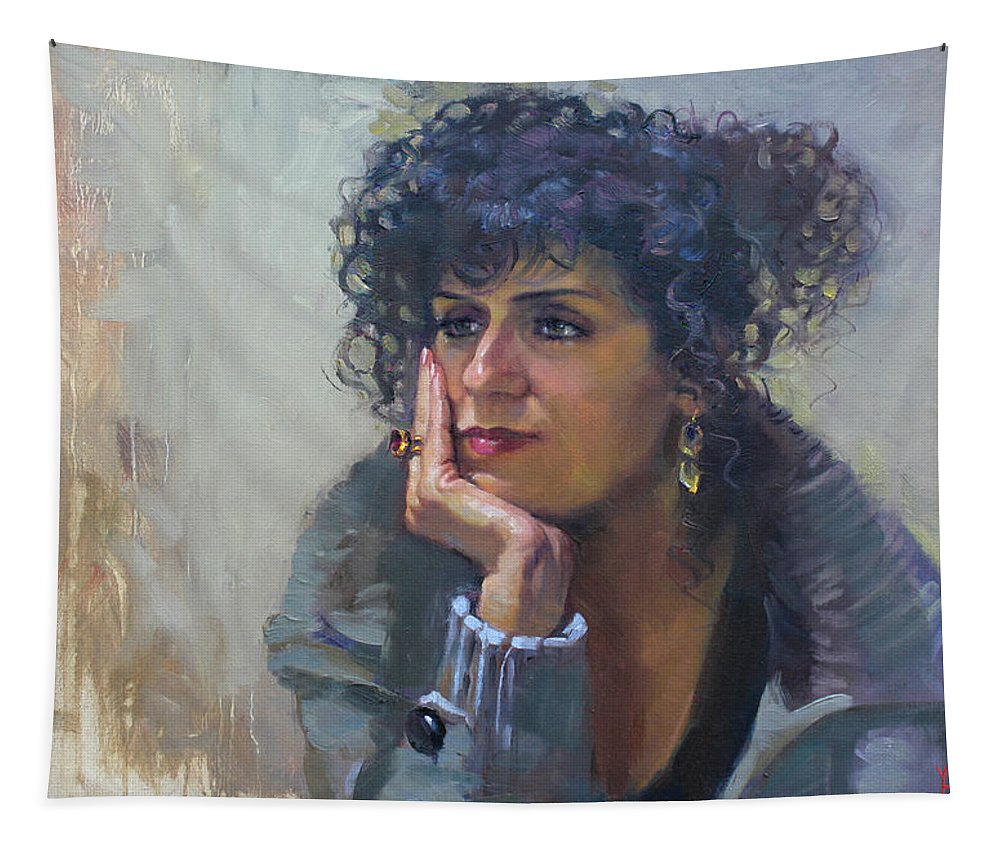 Portrait Tapestry featuring the painting Viola by Ylli Haruni