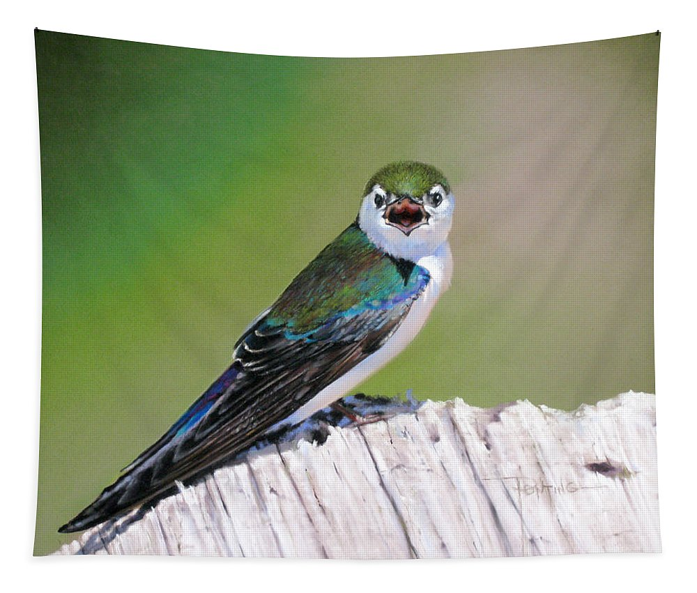 Birds Tapestry featuring the painting Violet Green Swallow by Dianna Ponting