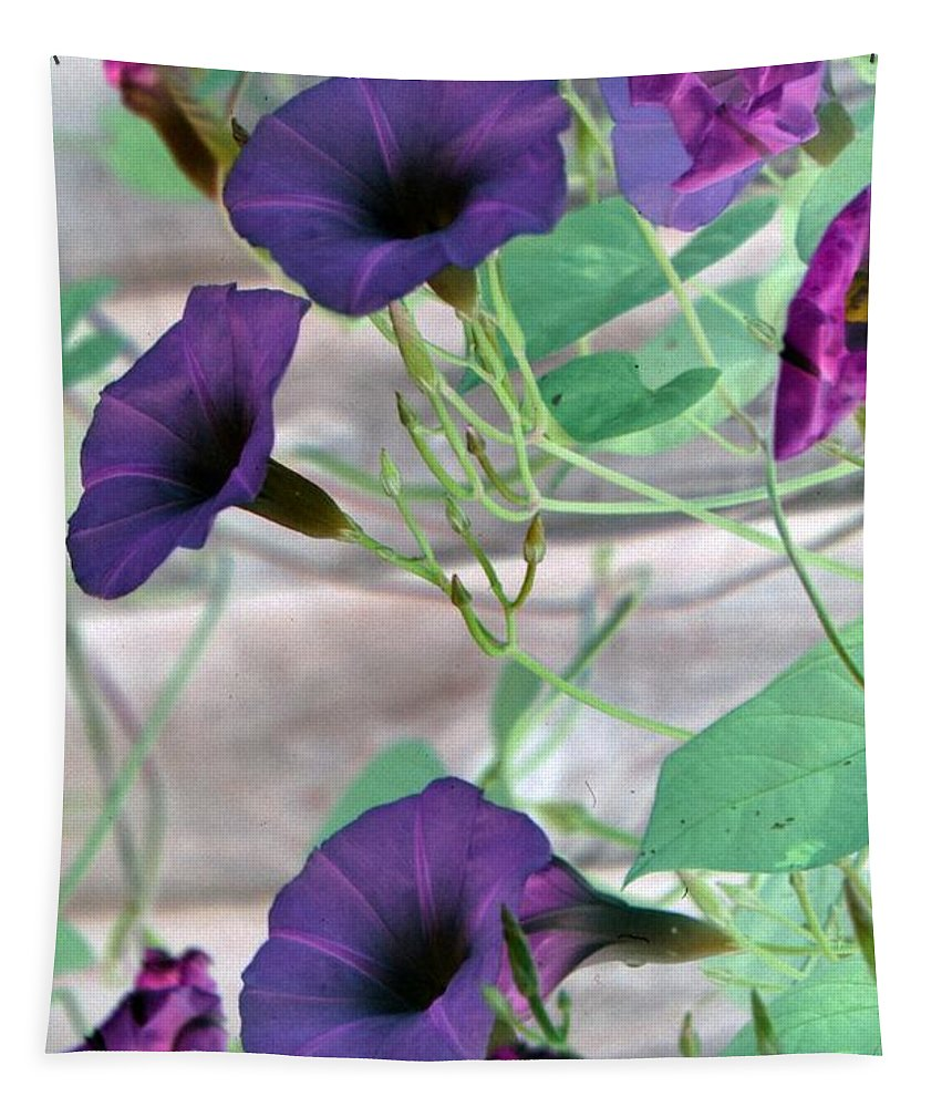 Flower Tapestry featuring the photograph Violet Vine - Photopower 326 by Pamela Critchlow