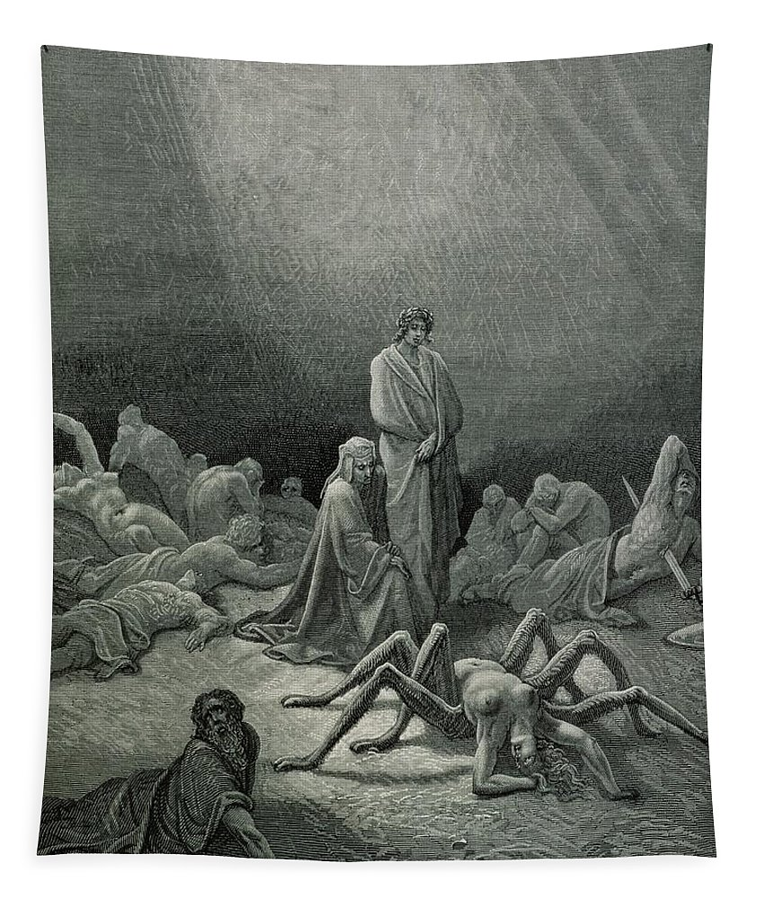 Dore Tapestry featuring the drawing Virgil And Dante Looking At The Spider Woman, Illustration From The Divine Comedy by Gustave Dore