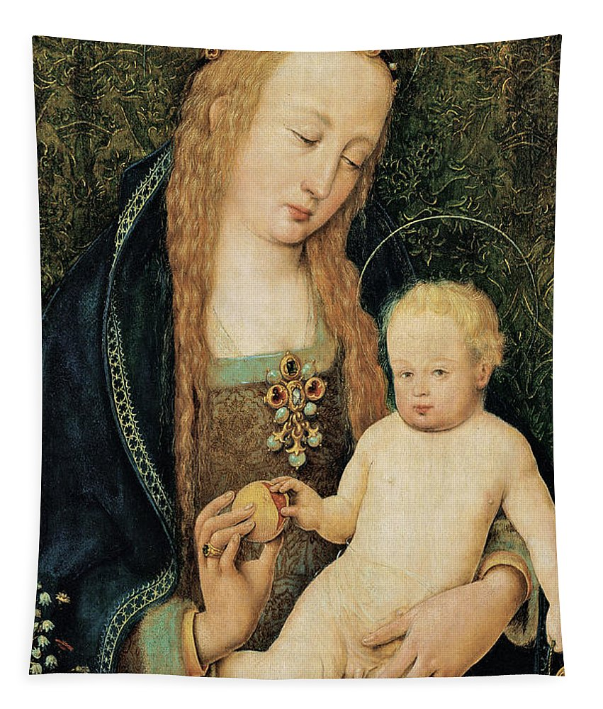 Madonna And Child Tapestry featuring the painting Virgin And Child With Pomegranate by Hans Holbein the Younger
