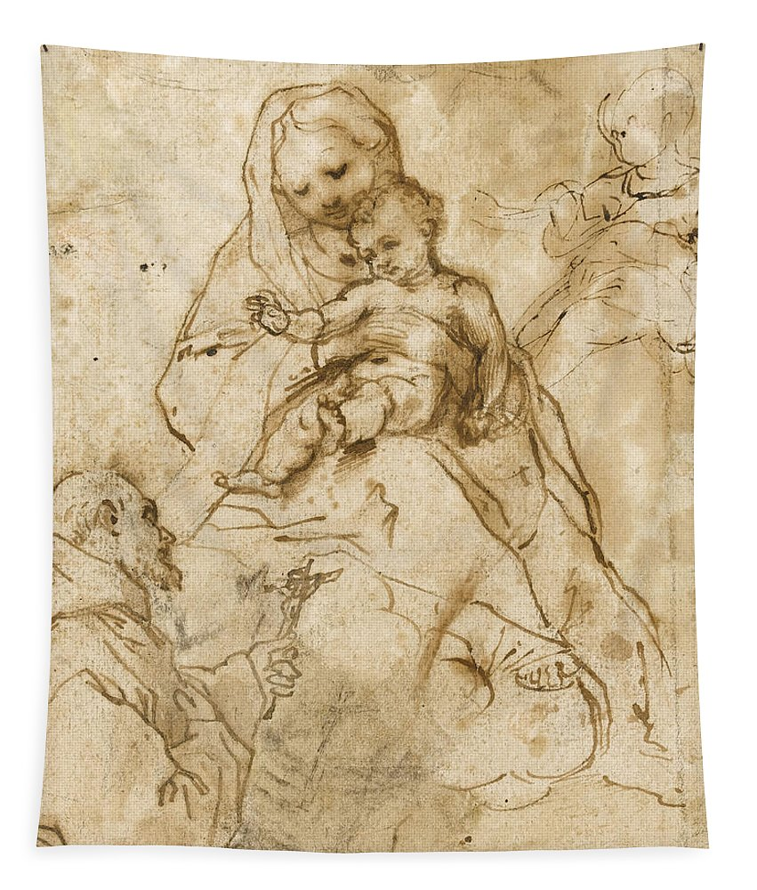 Virgin Mary Tapestry featuring the drawing Virgin And Child With Saint Francis by Federico Fiori Barocci or Baroccio
