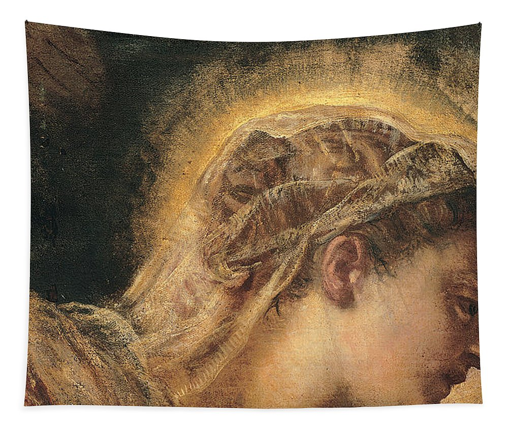 Christian Tapestry featuring the painting Virgin Mary by Tintoretto