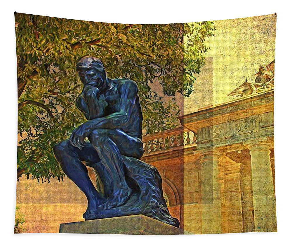 The Thinker Tapestry featuring the photograph Visit To The Thinker by Alice Gipson