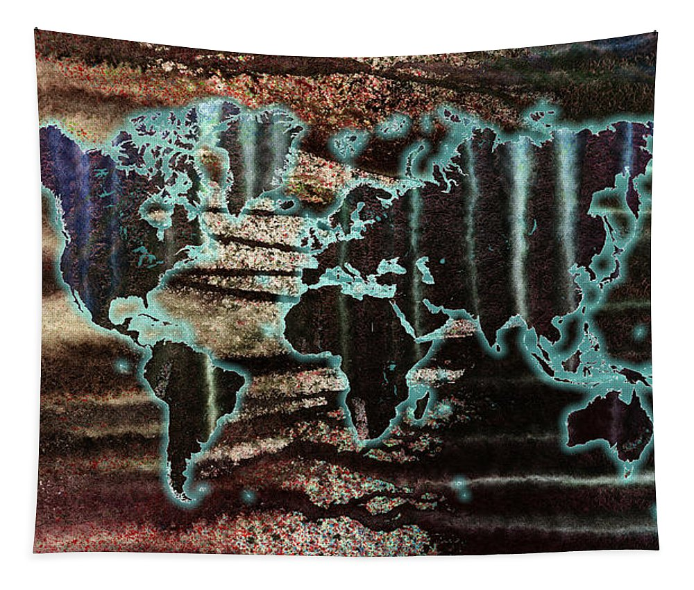 World Tapestry featuring the painting Volcanic Eruption World Map by Hakon Soreide