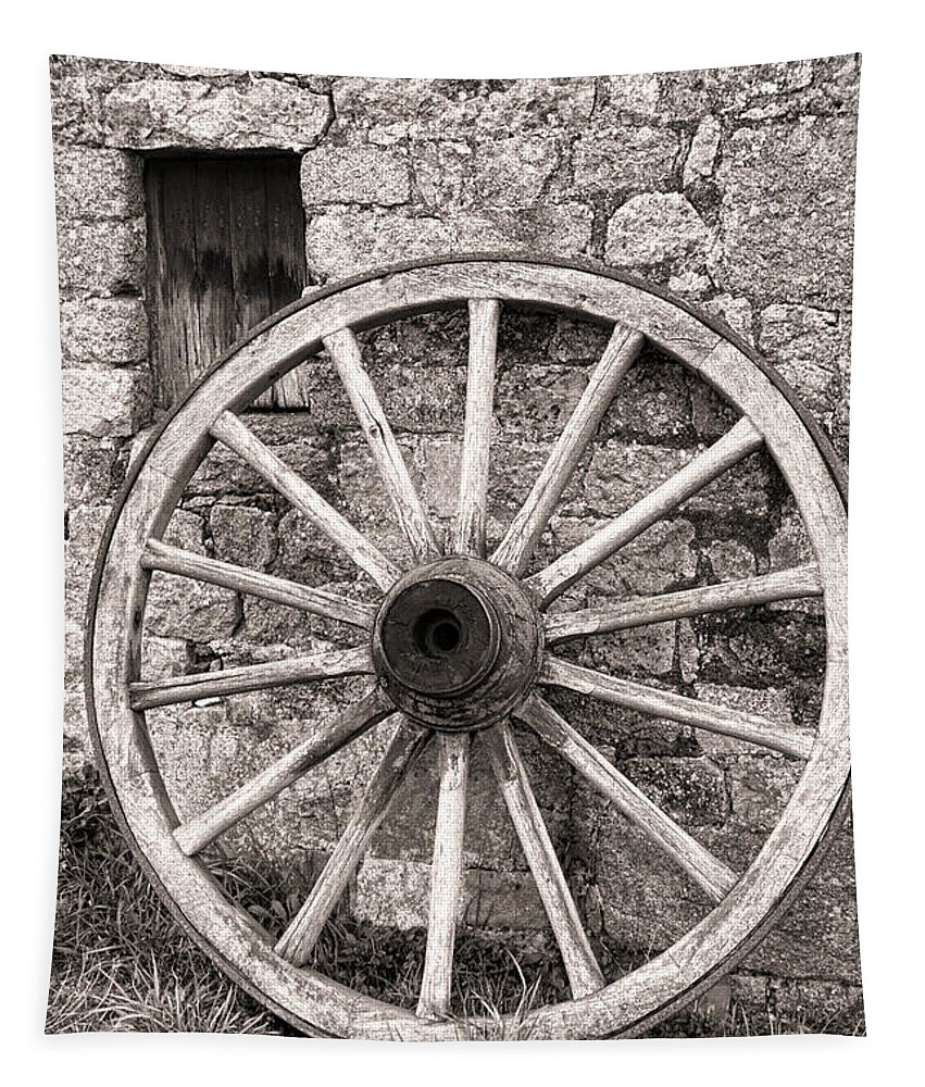 Wagon Tapestry featuring the photograph Wagon Wheel by Olivier Le Queinec
