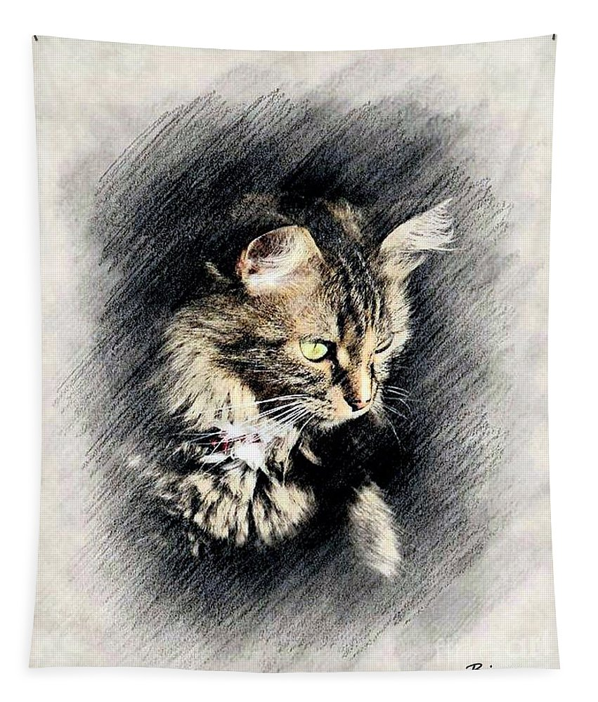 Norwegian Forest Cat Tapestry featuring the mixed media Waiting by Binka Kirova