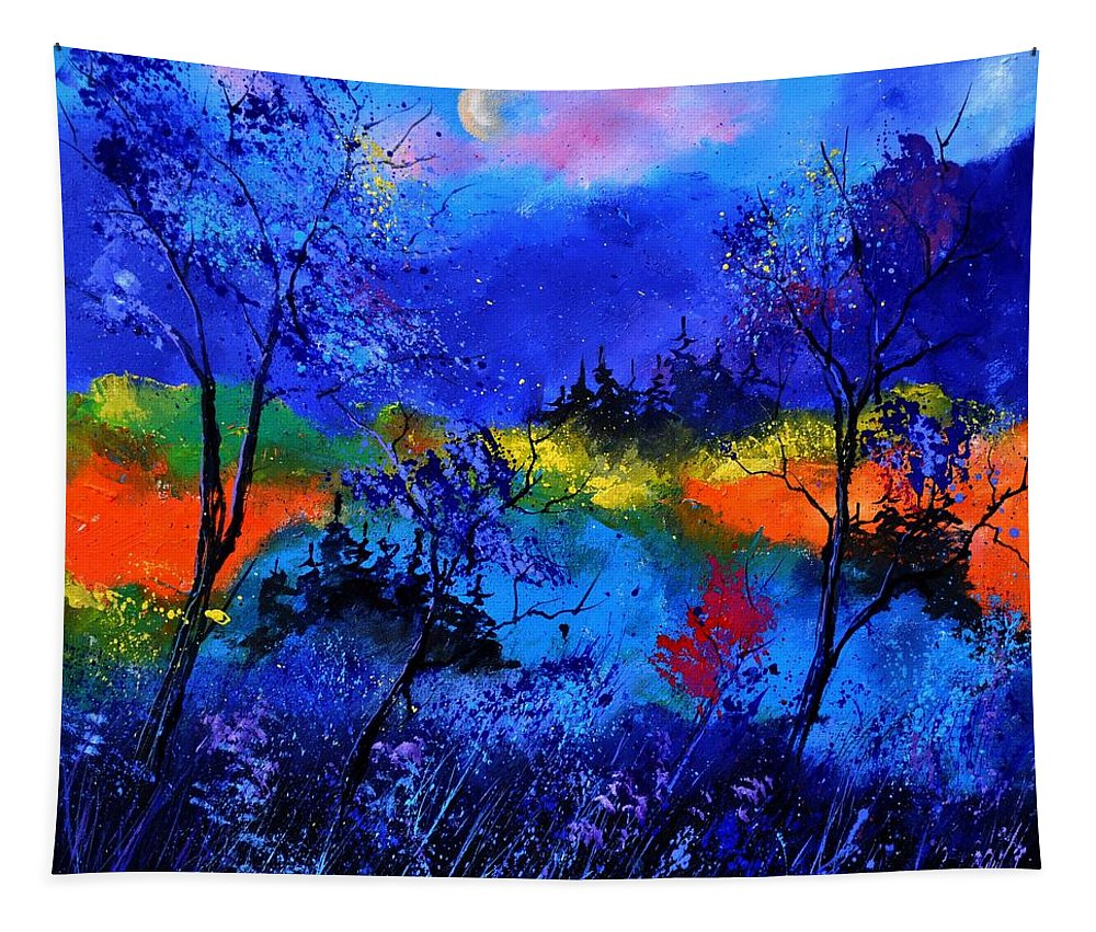 Landscape Tapestry featuring the painting Waiting For The Fairy Queen by Pol Ledent