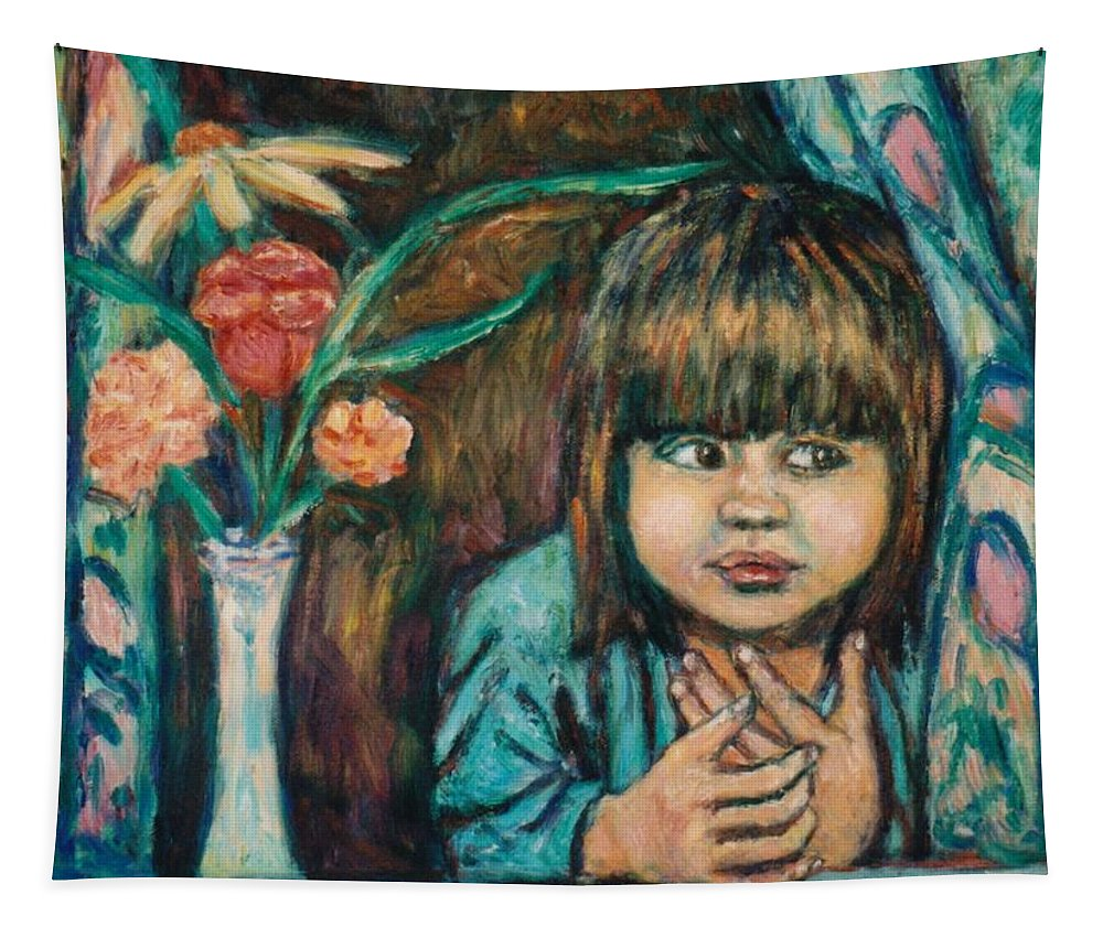 Young Girl Tapestry featuring the painting Waiting by Kendall Kessler