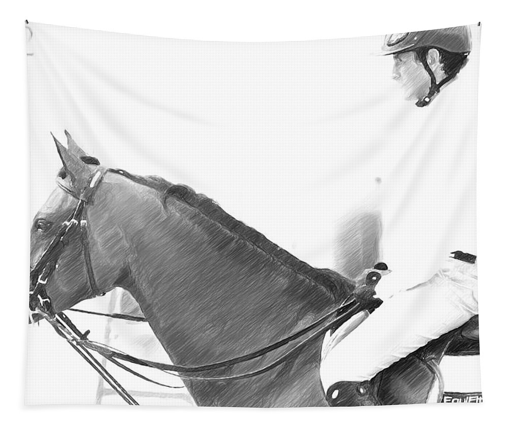 Horse Tapestry featuring the photograph Waiting To Jump by Alice Gipson