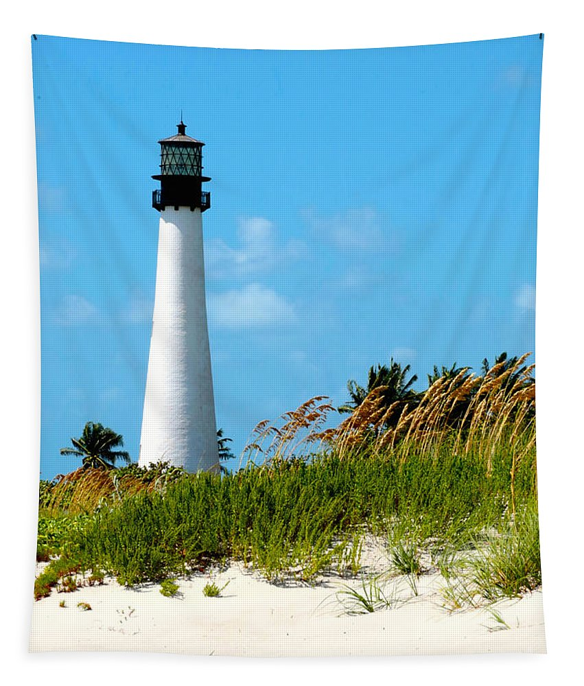 Lighthouse Tapestry featuring the photograph Walk On The Beach by Carol Groenen