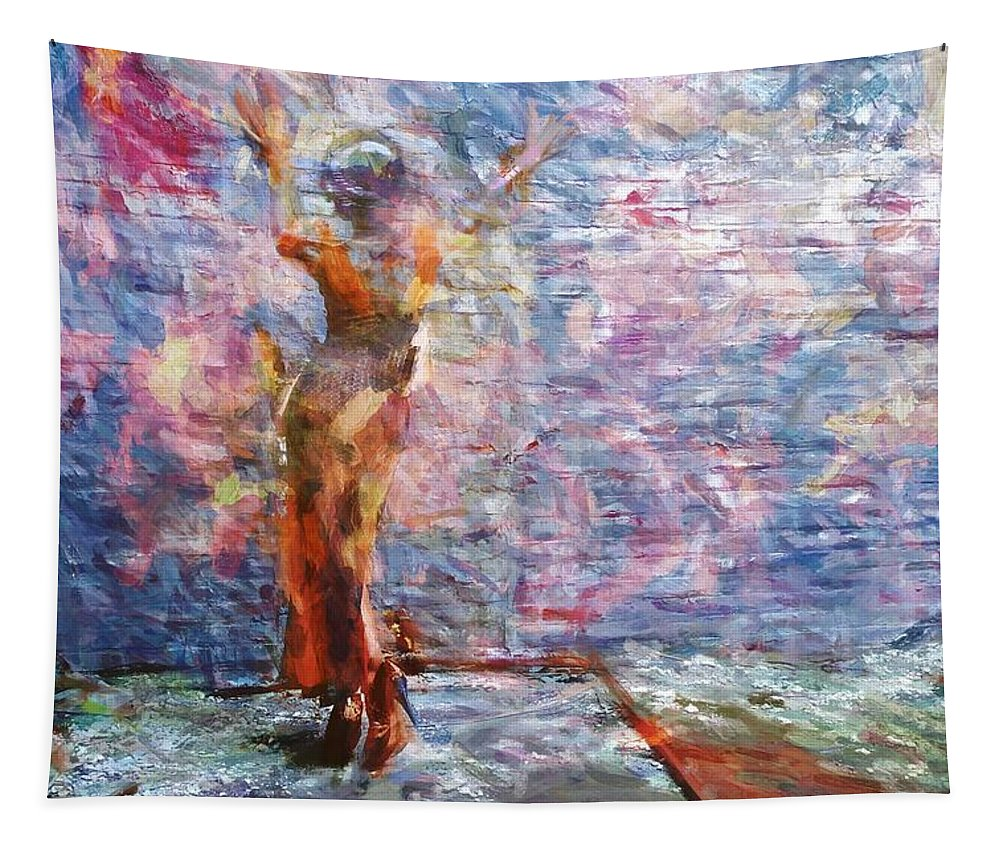 Beauty Against The Wall Tapestry featuring the photograph Wall Arted by Alice Gipson