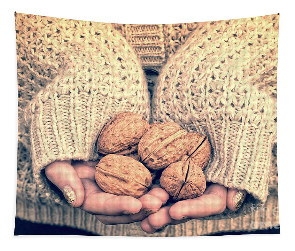 Nuts Tapestry featuring the photograph Wallnuts by Delphimages Photo Creations