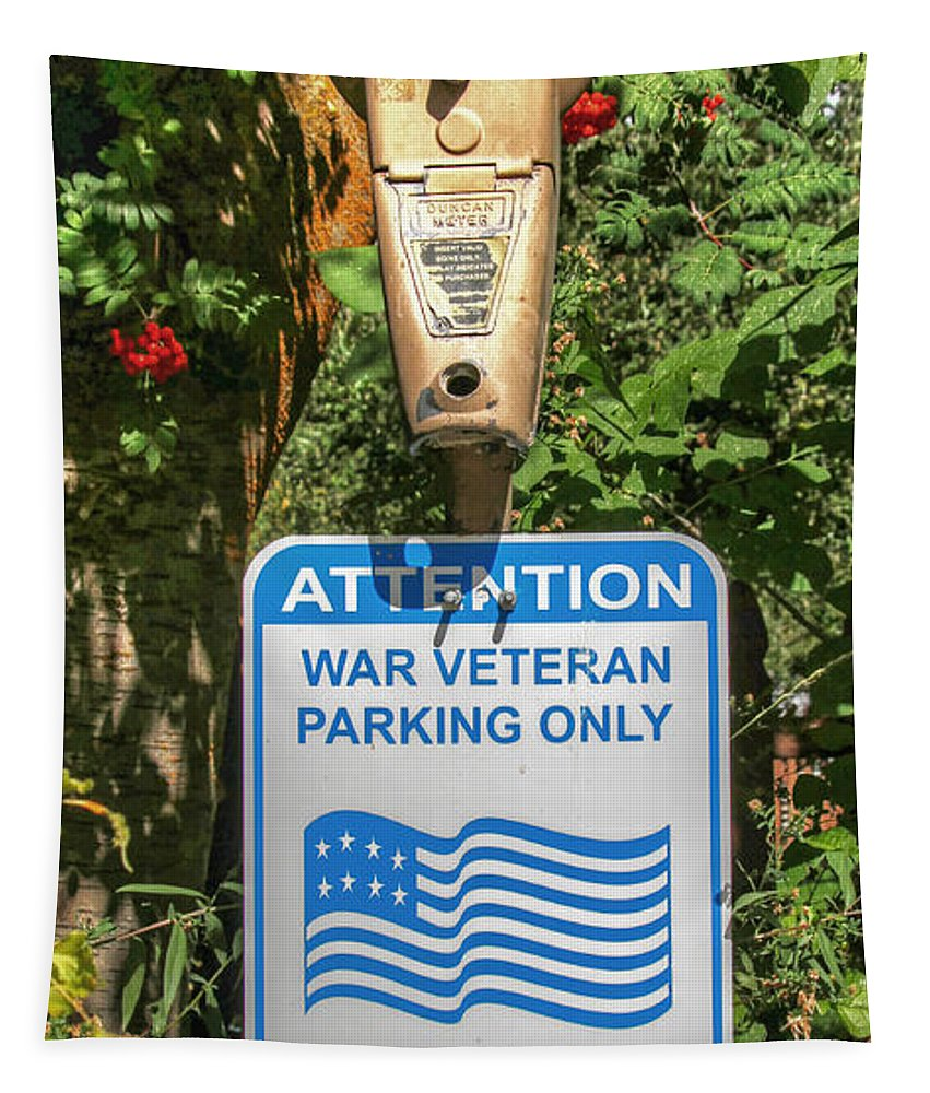 War Tapestry featuring the photograph Veteran Parking Sign by Nick Gray