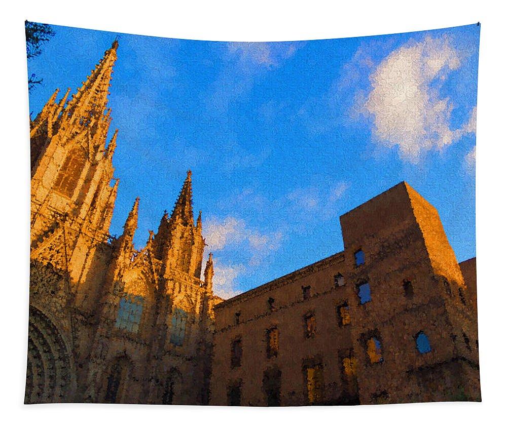 Georgia Mizuleva Tapestry featuring the digital art Warm Glow Cathedral - Impressions Of Barcelona by Georgia Mizuleva