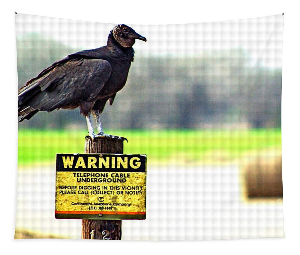 Warning Tapestry featuring the photograph Warning by Gary Richards