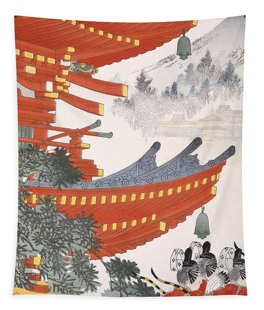 Oriental Tapestry featuring the painting Warriors Depart by Japanese School