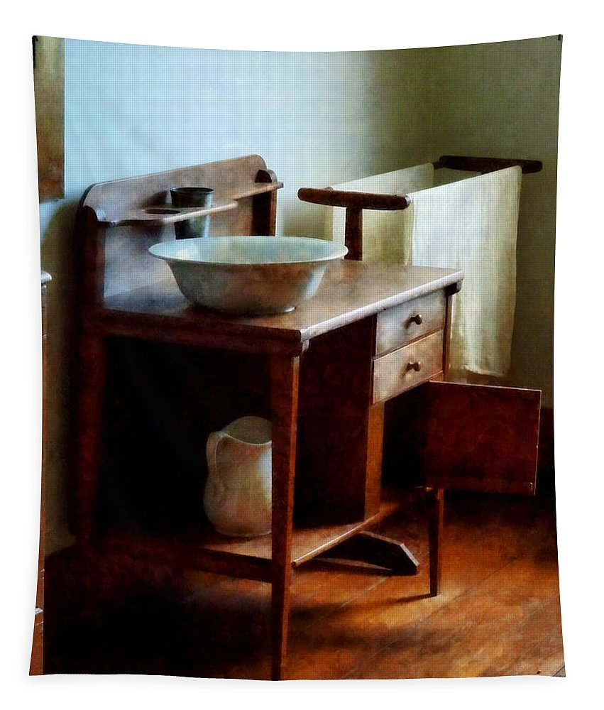 Wash Basin Tapestry featuring the photograph Wash Basin And Towel by Susan Savad