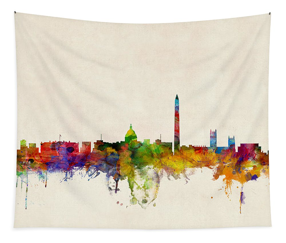 Watercolour Tapestry featuring the digital art Washington DC Skyline by Michael Tompsett