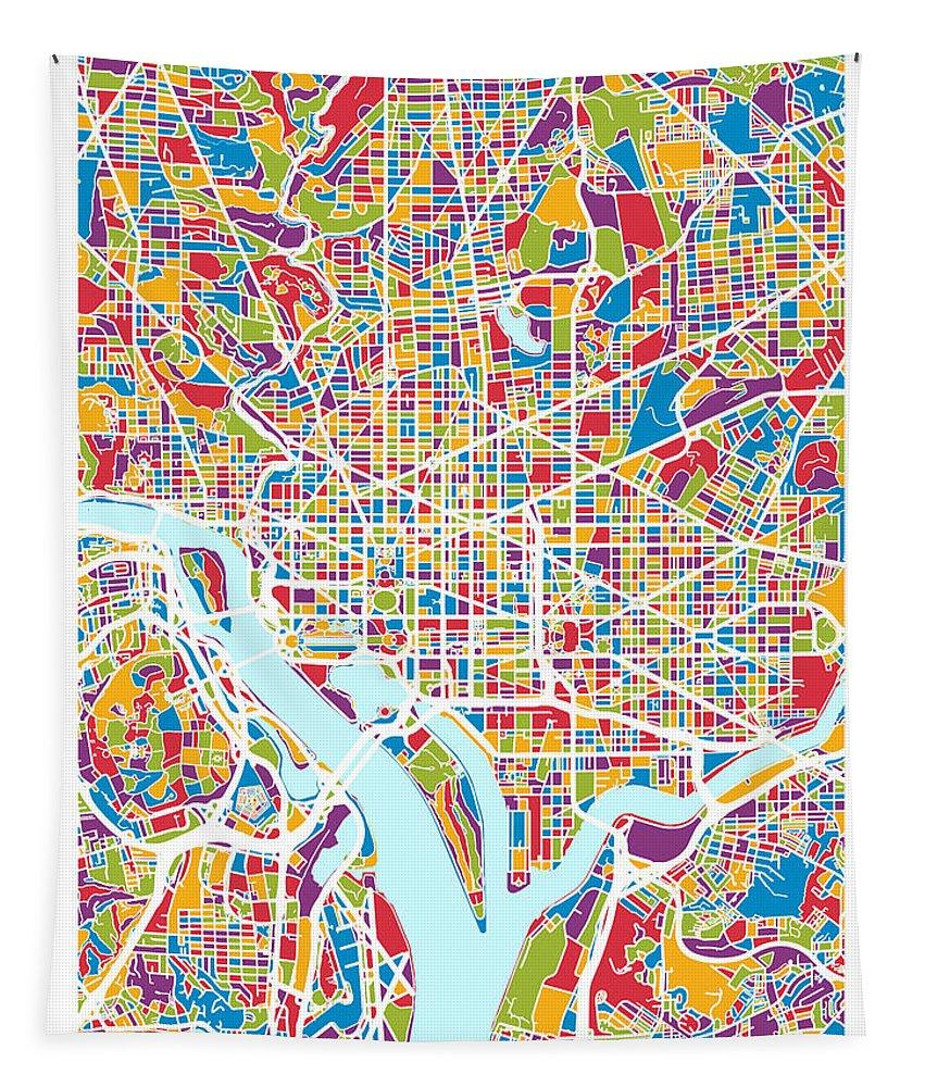 Street Map Tapestry featuring the digital art Washington Dc Street Map by Michael Tompsett