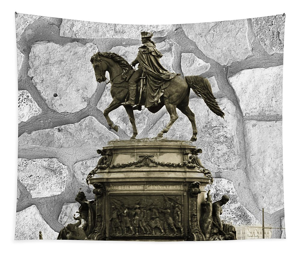 Washington Monument Tapestry featuring the mixed media Washington Monument At Eakins Oval by Trish Tritz
