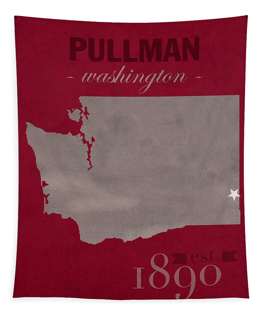 Washington State University Tapestry featuring the mixed media Washington State University Cougars Pullman College Town State Map Poster Series No 123 by Design Turnpike
