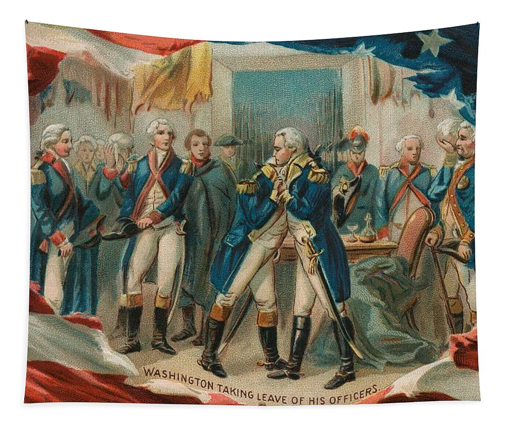 George Tapestry featuring the painting Washington Taking Leave Of His Officers by Anonymous