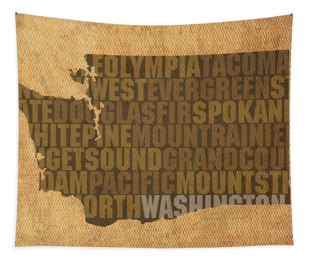Washington Tapestry featuring the mixed media Washington Word Art State Map On Canvas by Design Turnpike