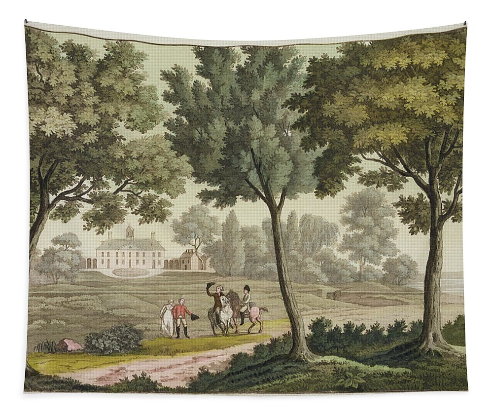 Presidential Residence Tapestry featuring the drawing Washingtons House At Mount Vernon by Paolo Fumagalli