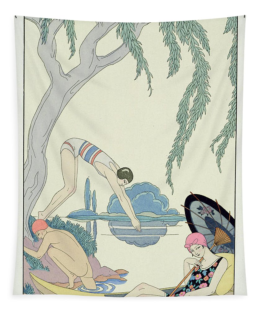 Bathing Tapestry featuring the painting Water by Georges Barbier