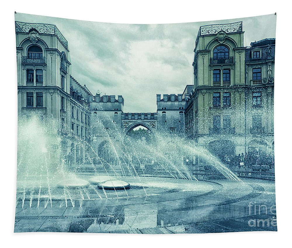 Photo Tapestry featuring the photograph Water In The City by Jutta Maria Pusl