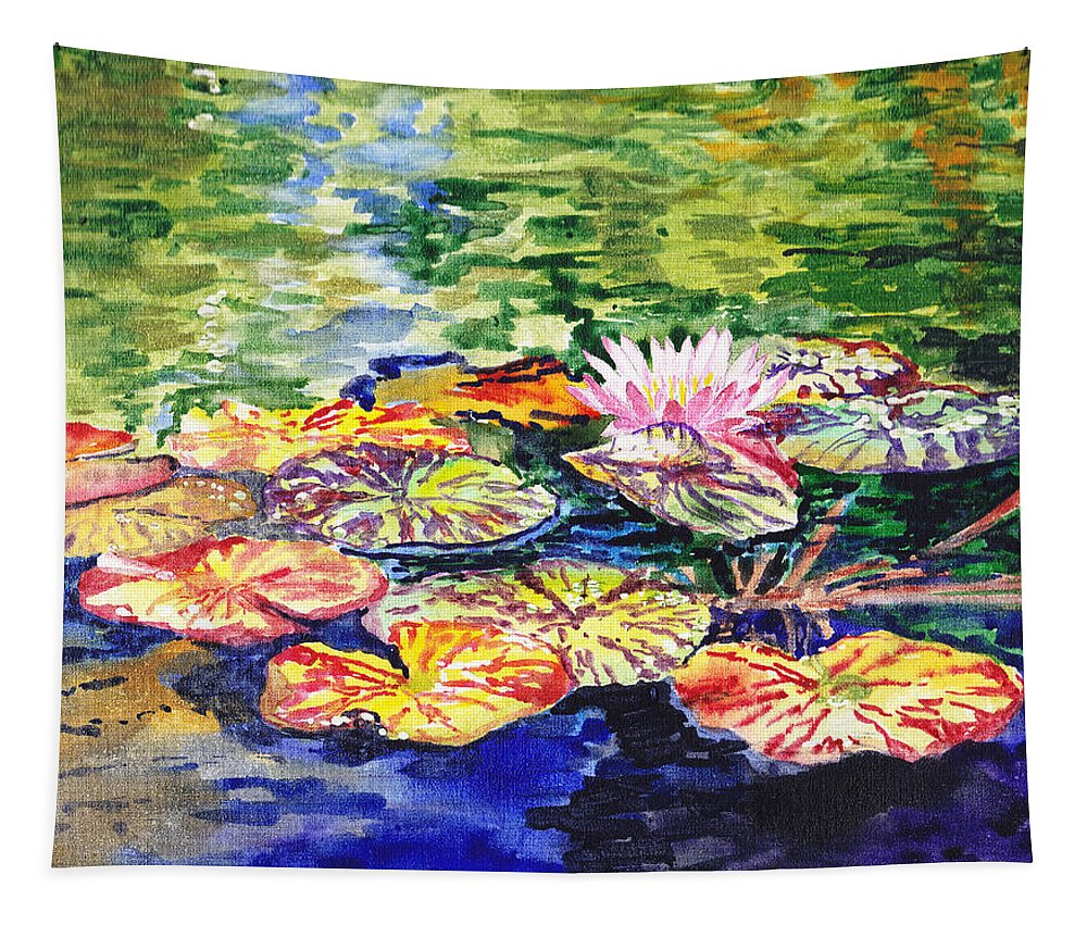 Lilies Tapestry featuring the painting Water Lilies by Irina Sztukowski