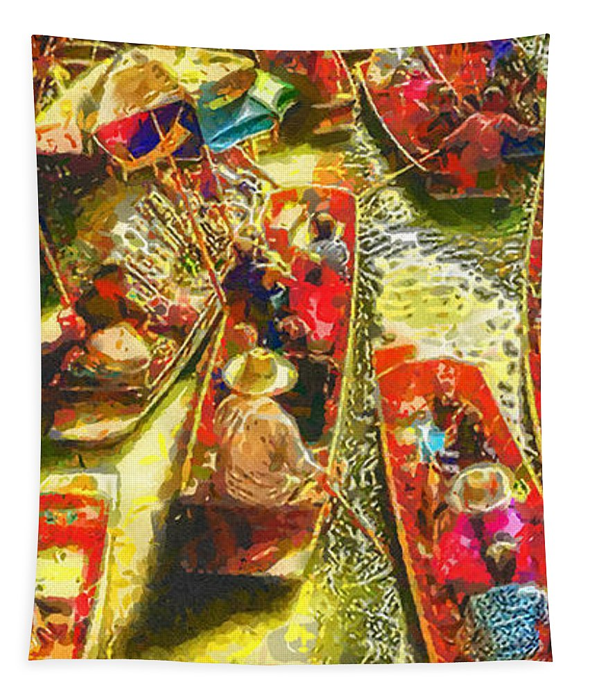 Water Market Tapestry featuring the painting Water Market by Mo T