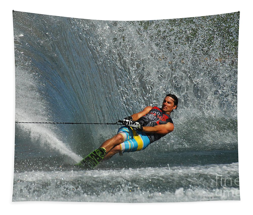 Water Skiing Tapestry featuring the photograph Water Skiing Magic Of Water 14 by Bob Christopher
