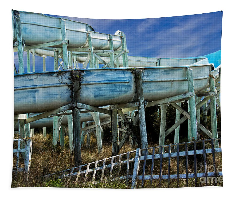 Structure Tapestry featuring the photograph Water Slide At Dowdy's Amusement Park by Tom Gari Gallery-Three-Photography