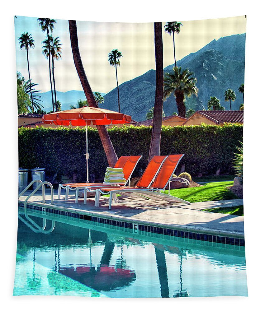 Pool Tapestry featuring the photograph Water Waiting Palm Springs by William Dey