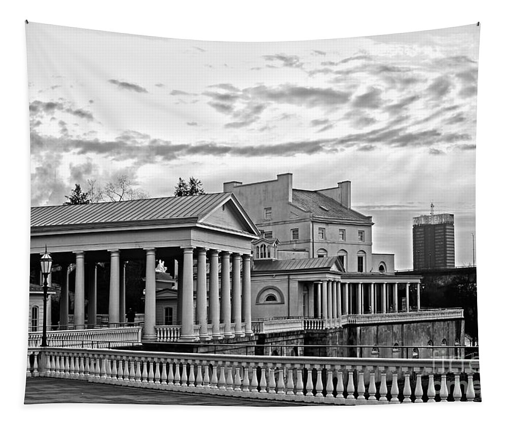 Philadelphia Tapestry featuring the photograph Water Works In Black And White by Tom Gari Gallery-Three-Photography