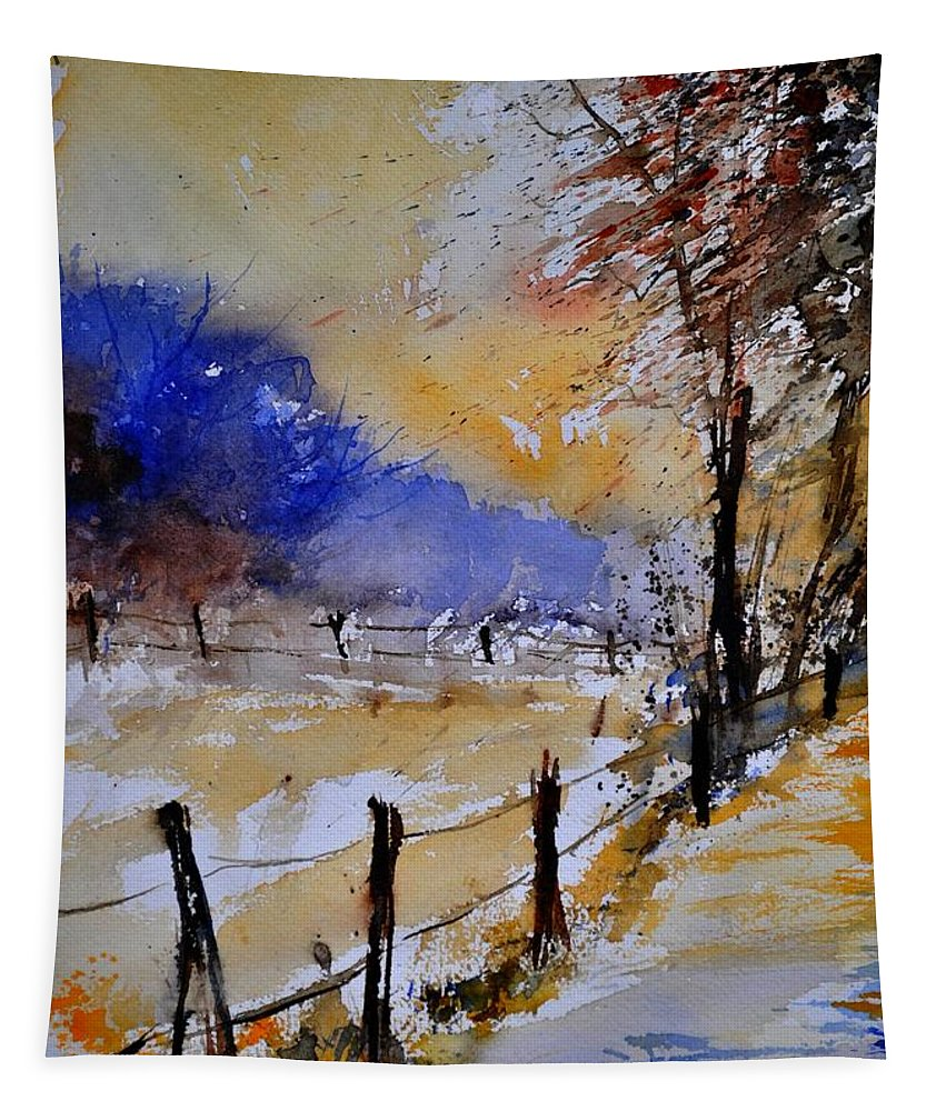 Landscape Tapestry featuring the painting Watercolor 311017 by Pol Ledent