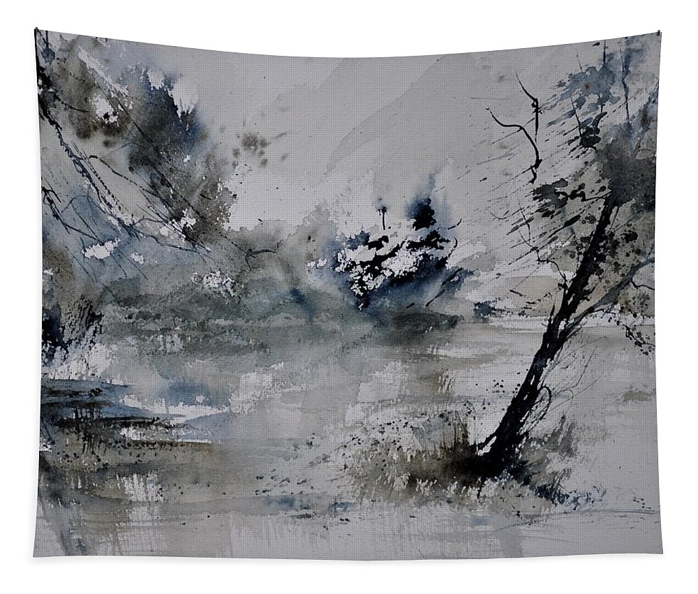 Landscape Tapestry featuring the painting Watercolor 413052 by Pol Ledent