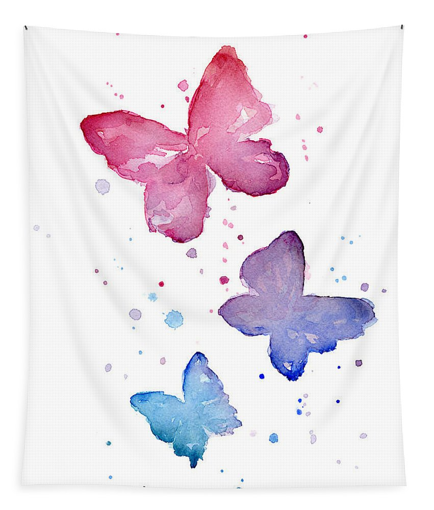 Watercolor Tapestry featuring the painting Watercolor Butterflies by Olga Shvartsur