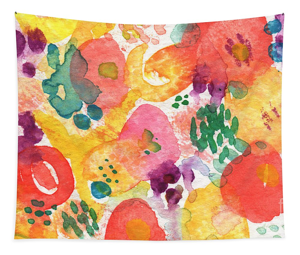 Flowers Tapestry featuring the painting Watercolor Garden by Linda Woods