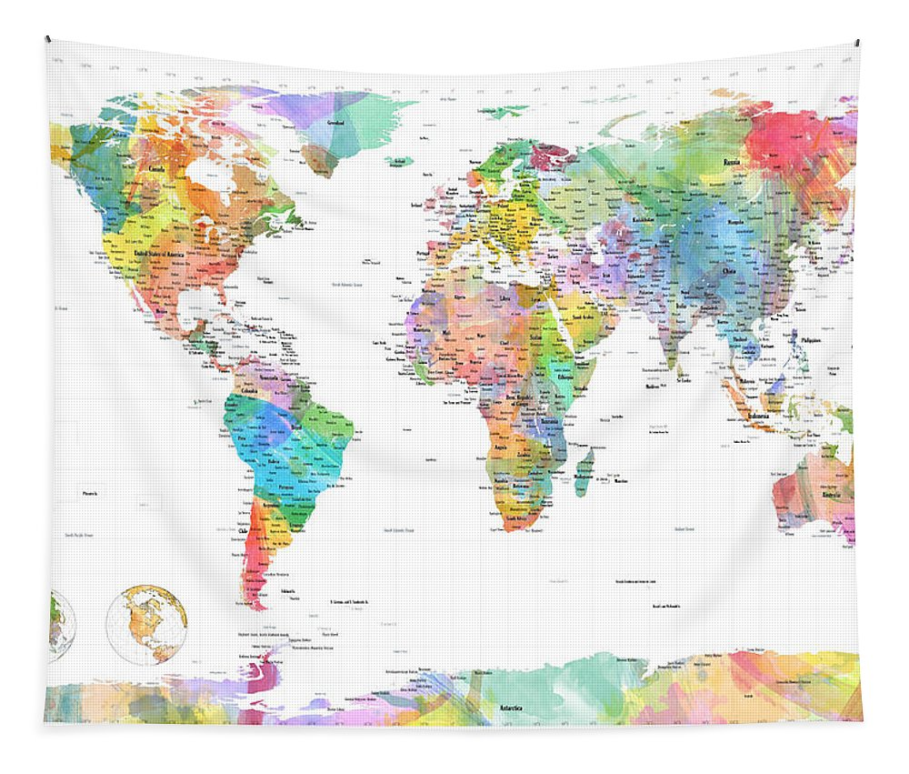 World Map Tapestry featuring the digital art Watercolor Political Map Of The World by Michael Tompsett