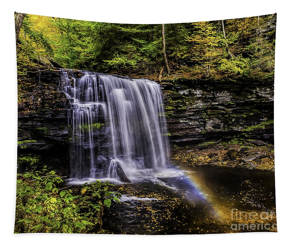 Waterfall Tapestry featuring the photograph Waterfall And Rainbow by Nick Zelinsky