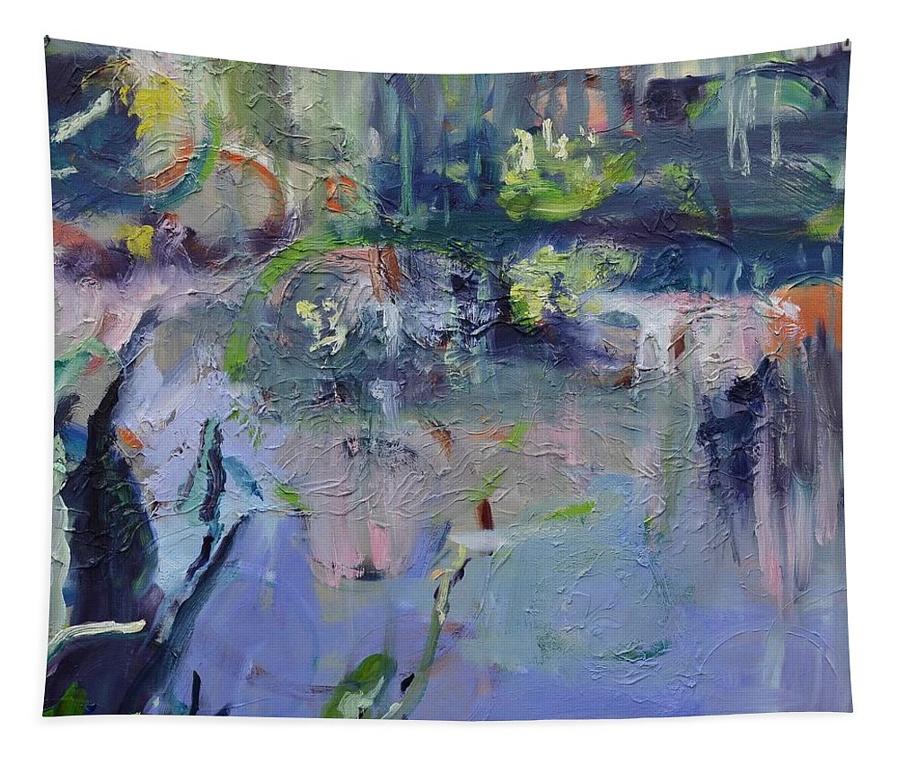 Watergarden Tapestry featuring the painting Watergarden by Donna Tuten
